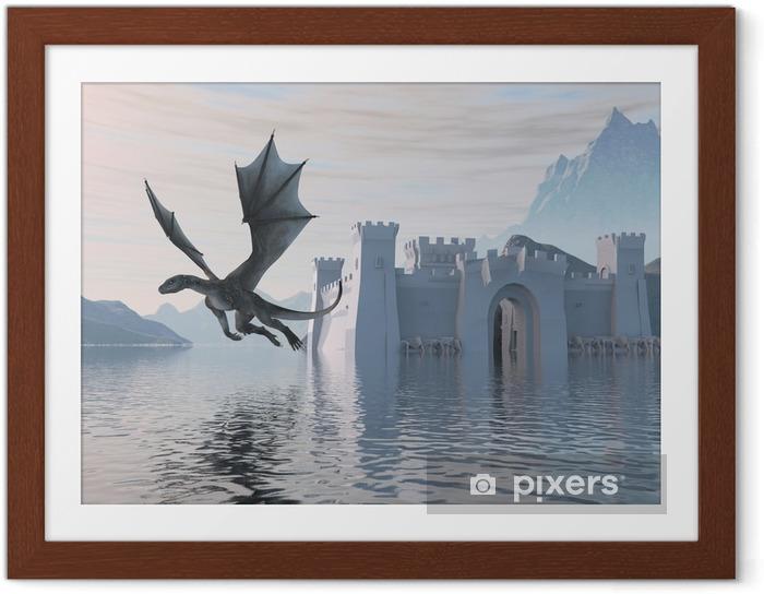 Poster en cadre 3D Illustration d'un château sur l'eau et dragon - Bâtiments et architecture
