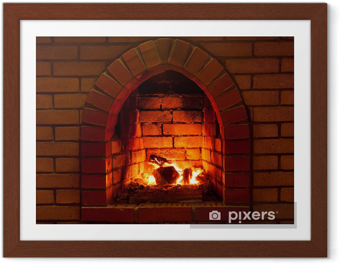 Plakat w ramie Ogień w kominku - Kominek