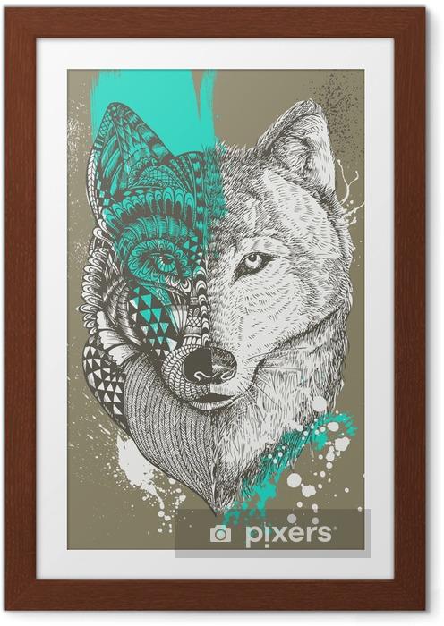 Ingelijste Poster Zentangle gestileerde wolf met verfspatten, met de hand getrokken illustratie - Dieren