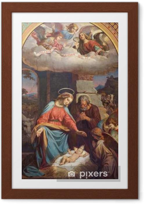 Póster com Moldura VIENA - JULHO 27: Fresco da cena da natividade por Karl von Blaas de 19. cento. na nave da igreja Altlerchenfelder em 27 de julho de 2013 em Viena. - Construções e Arquitetura