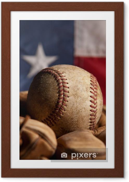 Plakat w ramie Vintage, baseball i amerykańską flagę - Artykuły sportowe
