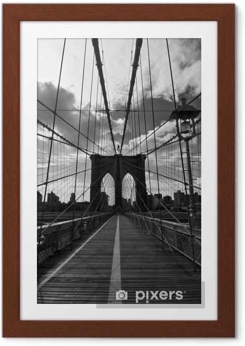 Póster Enmarcado Puente de Brooklyn Noir et Blanc - Nueva York - Estilos