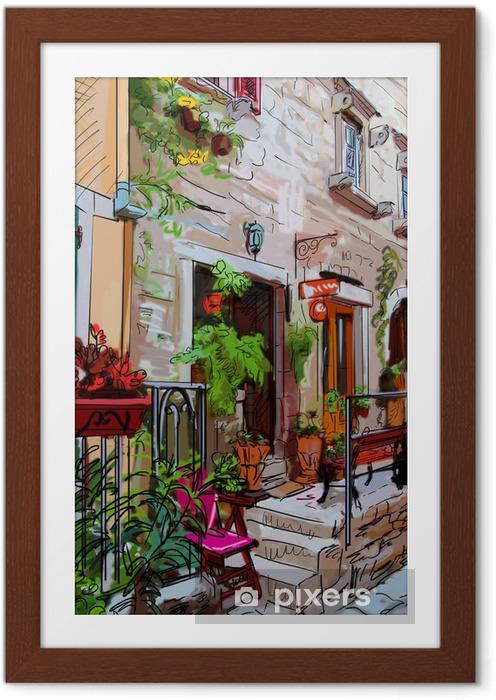Plakat w ramie Ulica w roma - ilustracja - Tematy