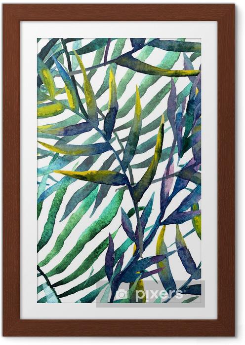 Poster en cadre Feuilles d'arbre abstraites à l'aquarelle - iStaging