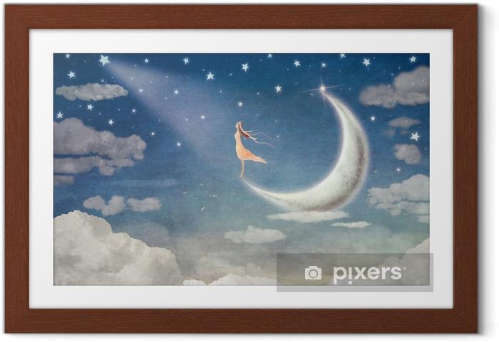 Poster in Cornice La ragazza sulla luna ammira il cielo notturno - arte dell'illustrazione - Emozioni e Stati d'animo