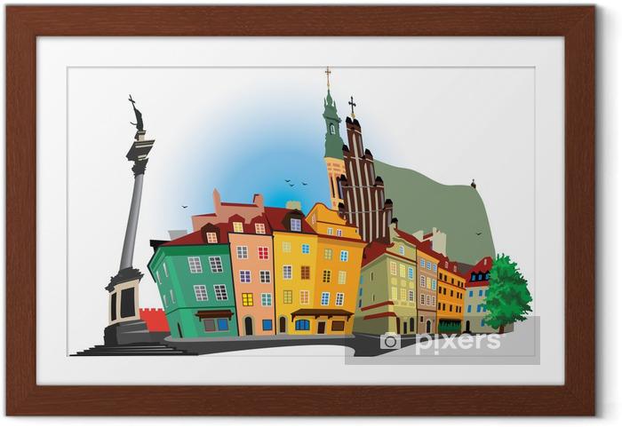Ingelijste Poster Oude binnenstad van Warschau - Thema's