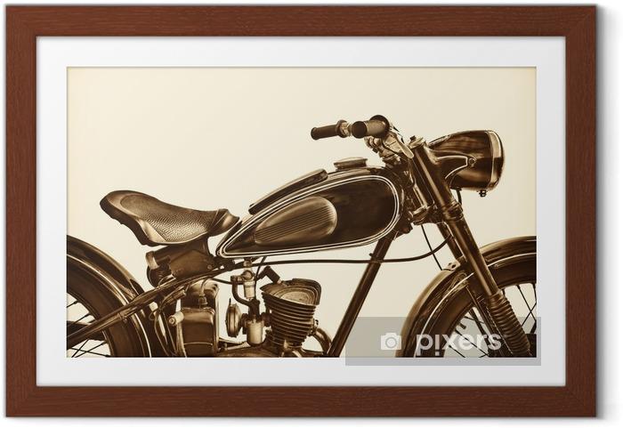Póster com Moldura Imagem em tons sépia de uma moto vintage - Transportes