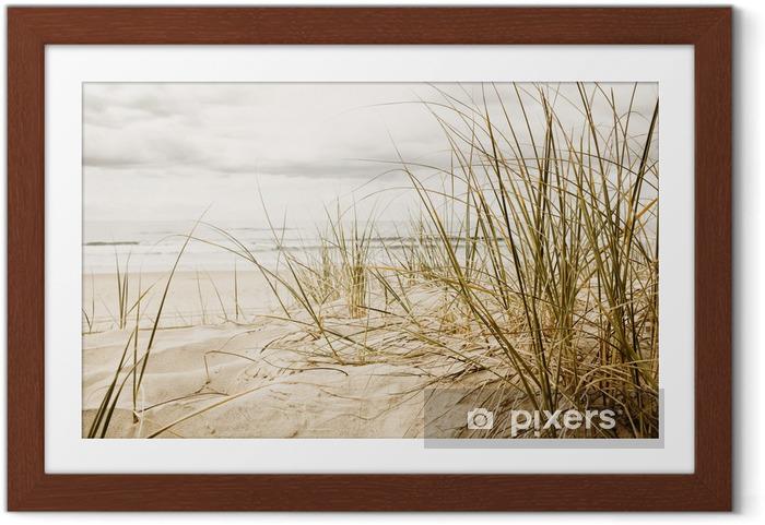 Póster Enmarcado Primer plano de una hierba alta en una playa durante la temporada nublado - Destinos
