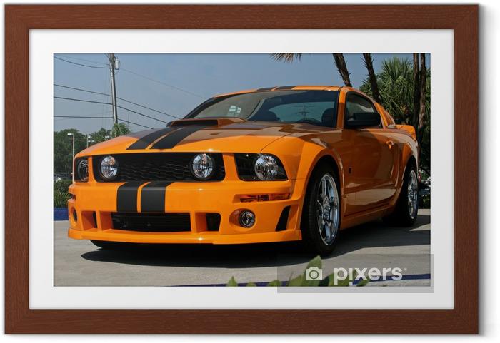 Ingelijste Poster Oranje american muscle car - Onderweg