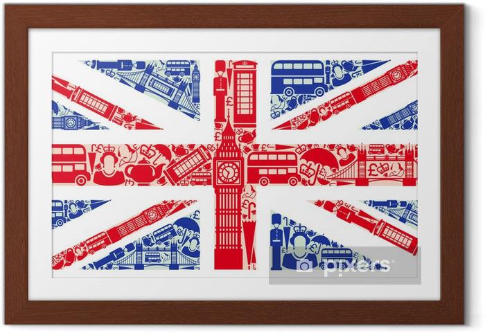 Plakat w ramie Flaga Anglii z symboli Wielkiej Brytanii i Londynie -
