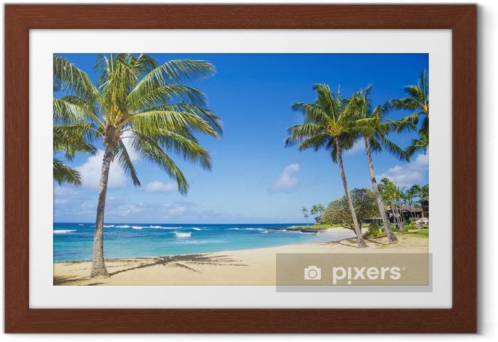Ingelijste Poster Palmbomen op het zandstrand in Hawaii - Palmbomen