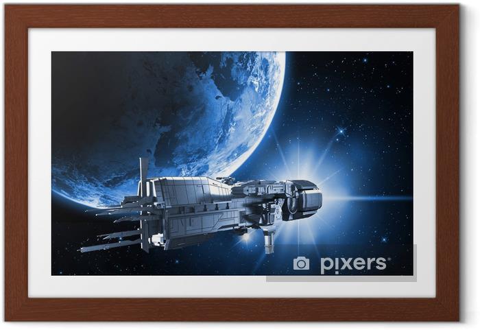 Póster Enmarcado Nave espacial con el planeta tierra - Estilos