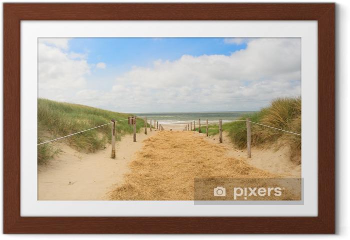 Ingelijste Poster Strand en duinen op Nederlandse Texel - Nederland