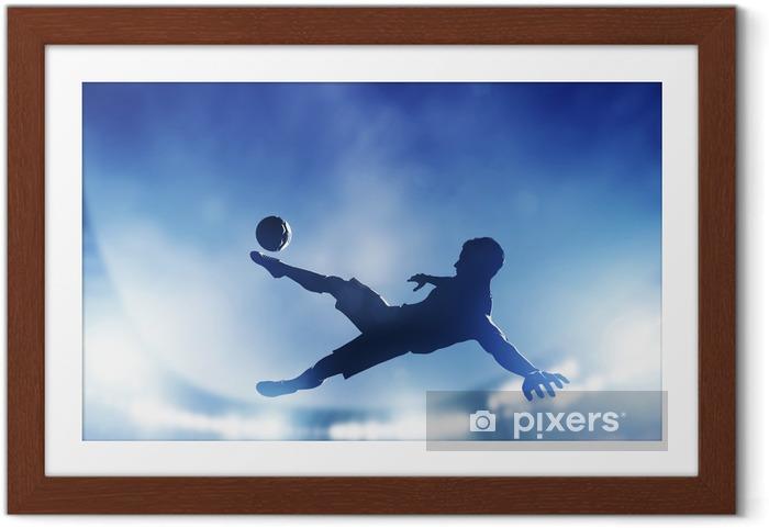Póster com Moldura Football, soccer match. A player shooting on goal - Temas