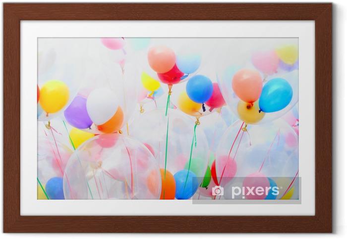 Gerahmtes Poster Hintergrund der bunten Luftballons - Für Mädchenzimmer