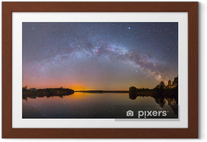 Plakat w ramie Jasny Droga Mleczna nad jeziorem w nocy (zdjęcie panoramiczne) - Tematy
