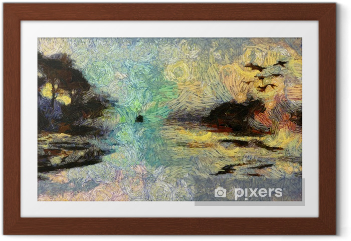 Ingelijste Poster Vivid Wervelende Schilderen of Islands zonsondergang of zonsopkomst - Hobby's en Vrije tijd
