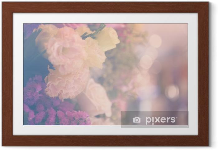 Poster en cadre Vintage carnetion et rose bouquet de fleurs fond doux - Plantes et fleurs