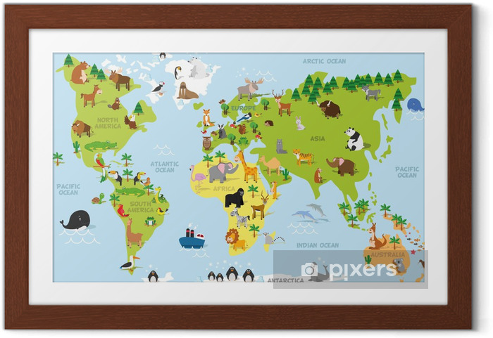 Poster en cadre Carte du monde drôle de bande dessinée avec des animaux traditionnels de tous les continents et les océans. Vector illustration pour l'éducation et les enfants d'âge préscolaire conception - PI-31
