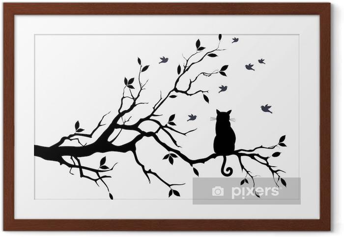 Ingelijste Poster Kat op een boom met vogels, vector - Wetenschap en natuur
