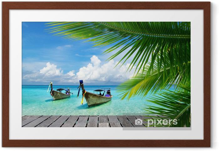 Ingelijste Poster Dek met uitzicht op een tropische zee - Bestverkocht
