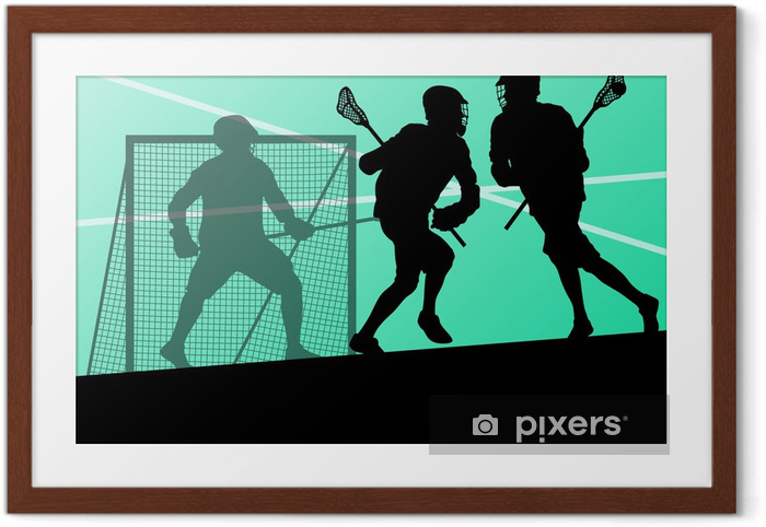 Innrammet plakat Lacrosse spillere aktive sports silhuetter bakgrunn illustrerer - Andre Følelser