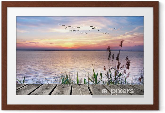 Poster en cadre Jetée en bois au coucher du soleil -