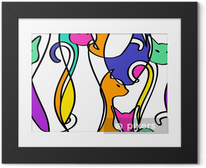 Plakat w ramie Szwu z geometryczne abstrakcyjne kotów. - Zwierzęta