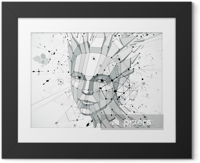 Plakat w ramie 3d vector low poly portrait of a smart woman, human thoughts - Kobiety