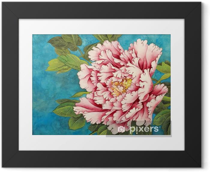 Plakát v rámu Růžová pivoňka na modrém pozadí - Rostliny a květiny