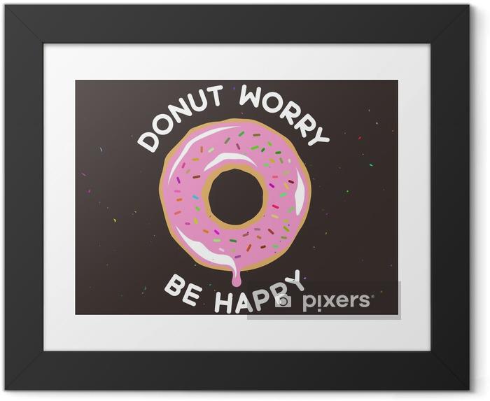 Çerçeveli Poster Donut mutlu bağbozumu posteri olmak endişe. Vector illustration. - Yiyecek