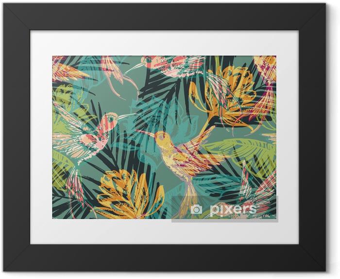Plakat w ramie Jednolite wzór z abstrakcyjne egzotycznych liści palmowych i Colibri. - Zasoby graficzne