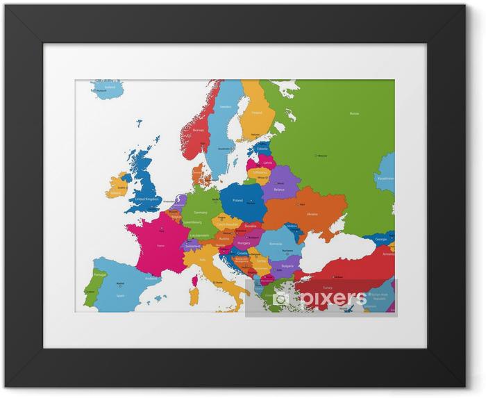 Ingelijste Poster Kleurrijke kaart van Europa met de landen en hoofdsteden - Thema's