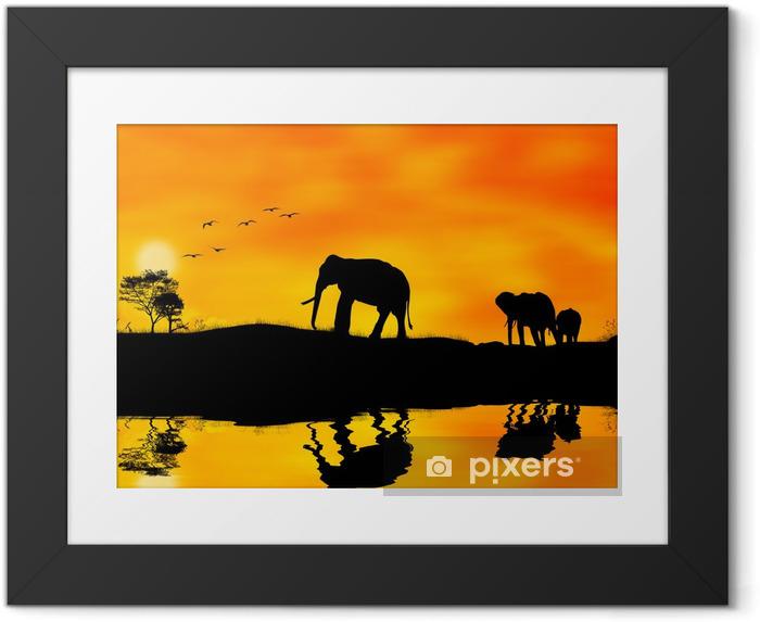 Poster en cadre Les éléphants d'Afrique - Thèmes