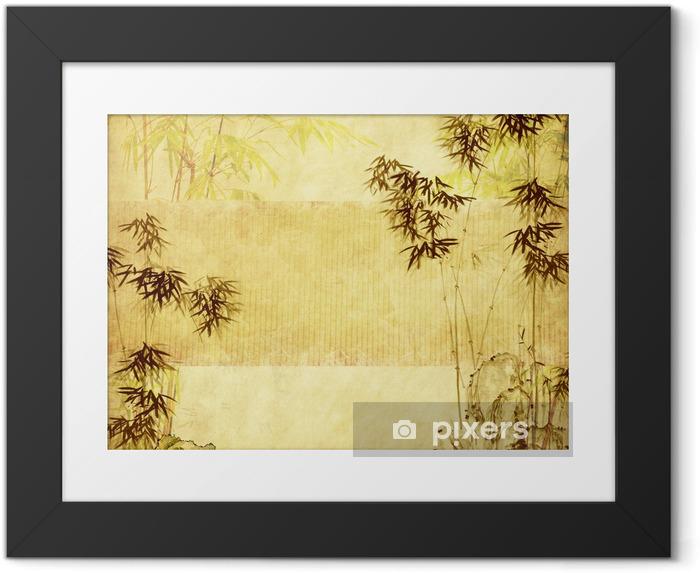 Poster in Cornice Bambù sulla vecchia carta grunge texture di sfondo - Temi