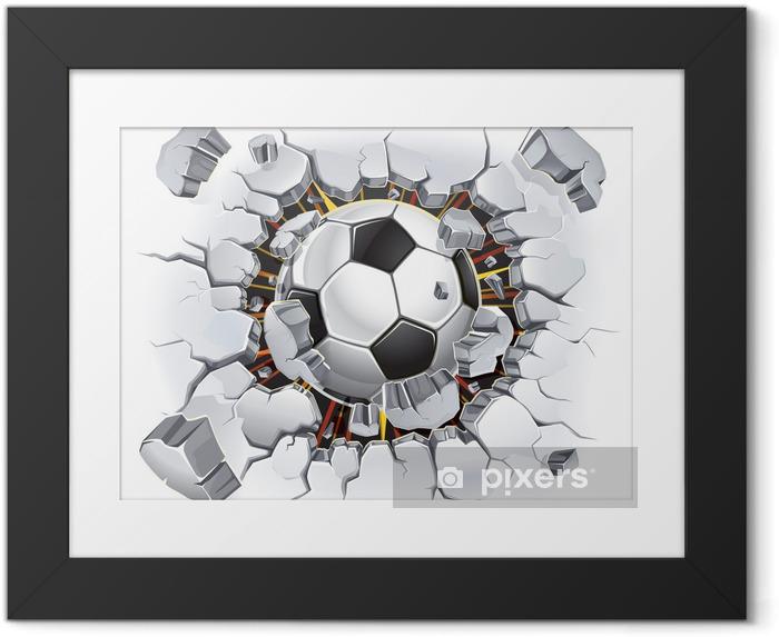 Ingelijste Poster Voetbal die door de muur komt - Bestemmingen