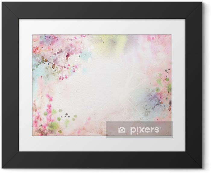 Ingelijste Poster Schilderachtige aquarel achtergrond, bloemige samenstelling Sakura - Stijlen