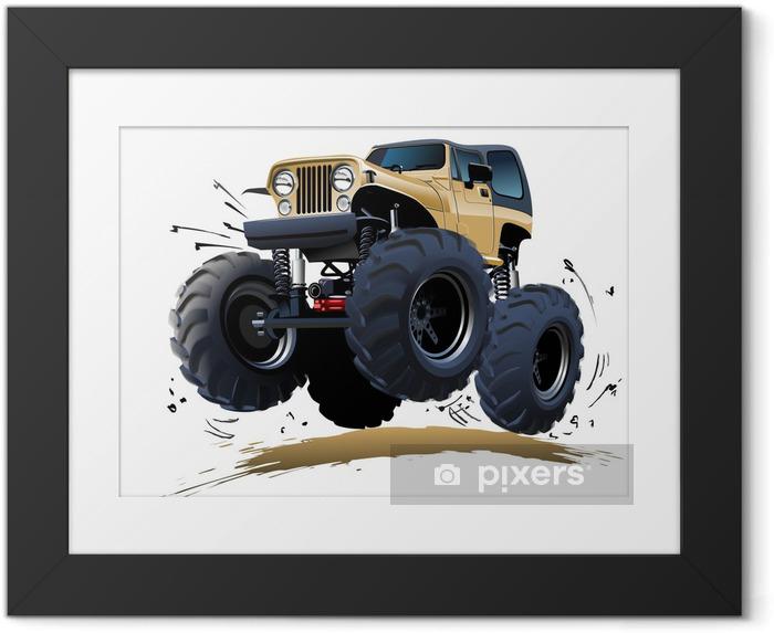 Plakat w ramie Cartoon Monster Truck - Transport drogowy