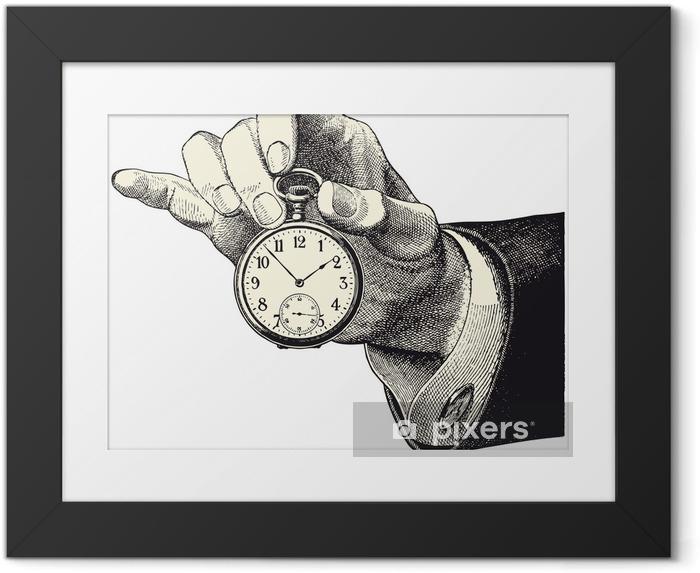 Poster en cadre Main d'homme tenant une montre - Horloges