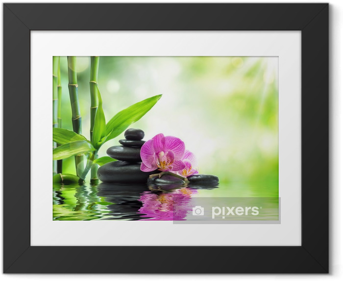 Póster com Moldura Background spa - orchids black stones and bamboo on water - Temas