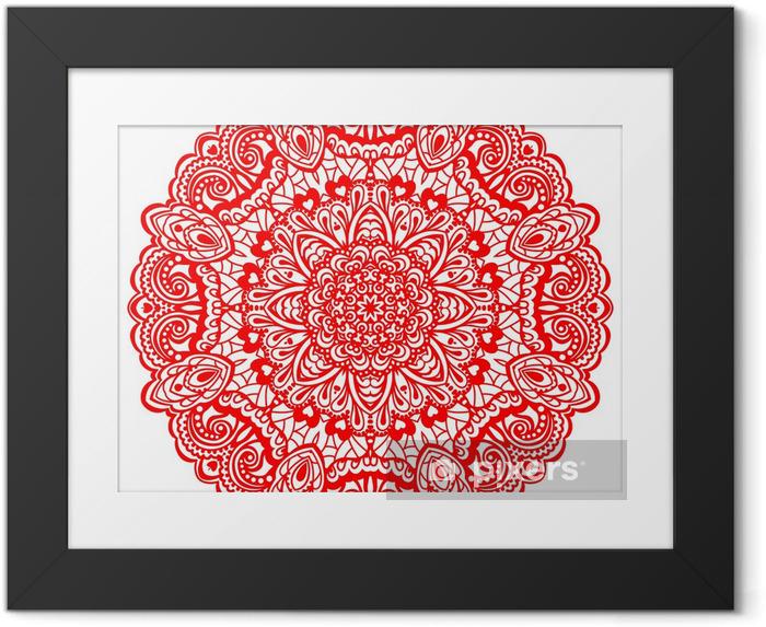 Plakat w ramie Kwiat mandala. abstrakcyjny element projektu - Naklejki na ścianę
