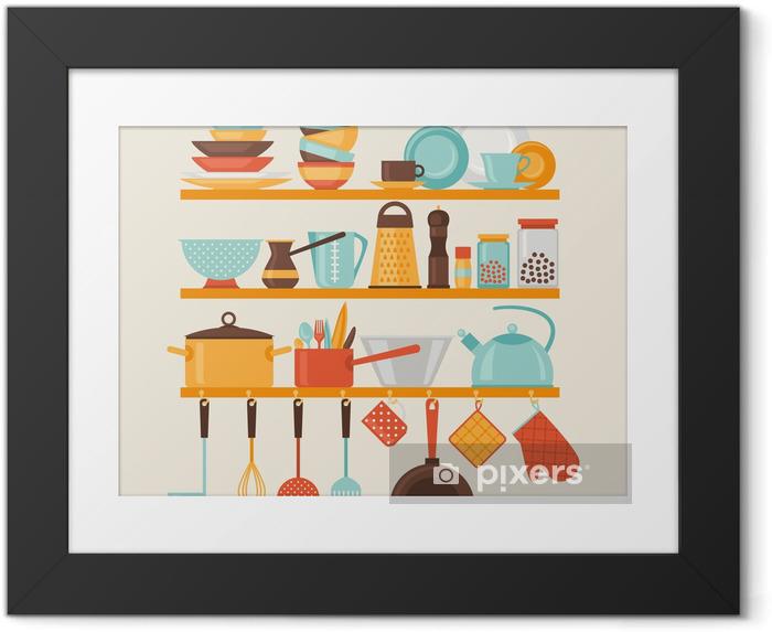 Plakat w ramie Karta z półki kuchenne i naczynia do gotowania, w stylu retro. - Tematy
