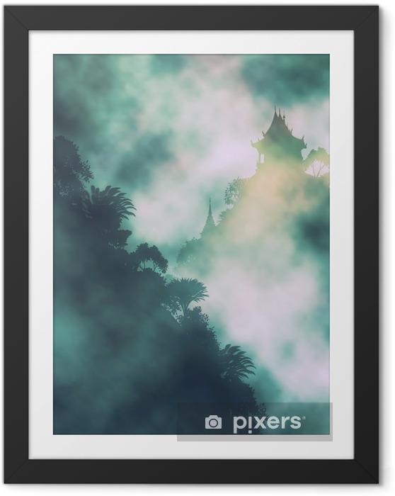 Ingelijste Poster Mystic berg tempel - Landschappen