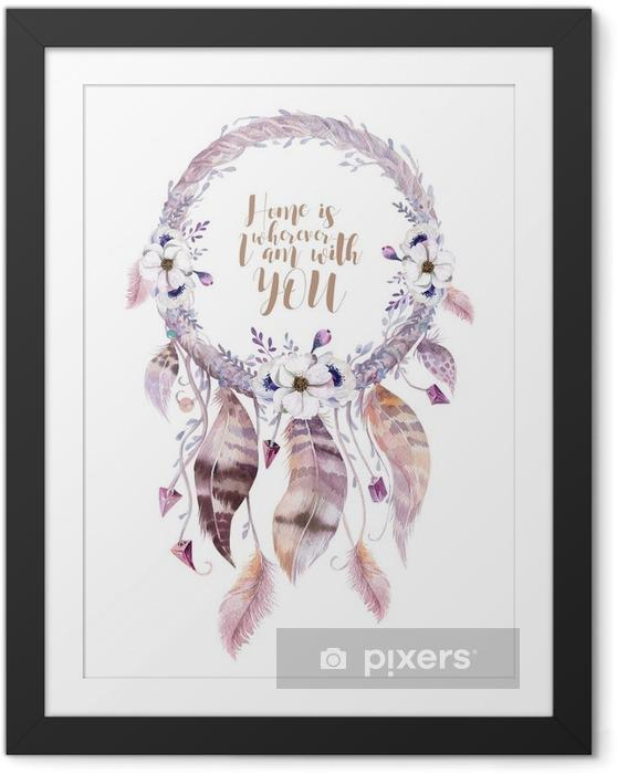Poster in Cornice Decorazione acquerello isolato dreamcatcher bohemien. Boho feath - Piante & Fiori