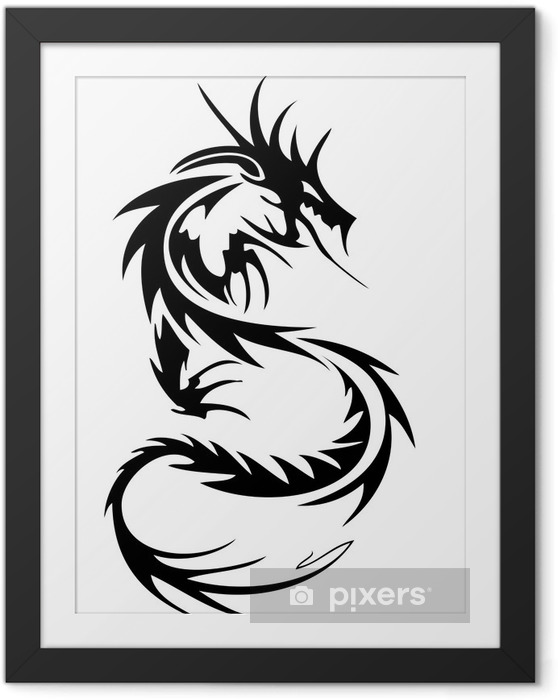 Ingelijste Poster Tribal dragon tattoo - Muursticker
