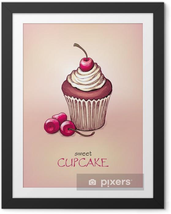 Poster en cadre Avec Cherry Cupcake - Pour café