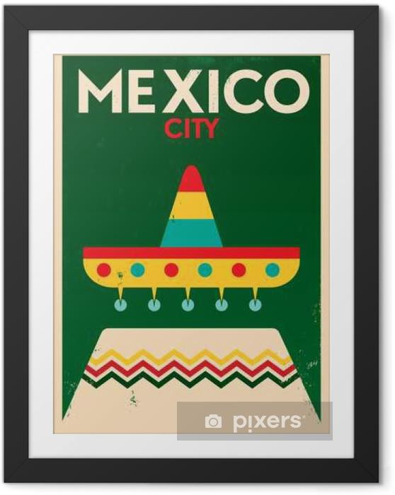 Çerçeveli Poster Meksika Vintage Poster Tasarım - Binalar ve mimari