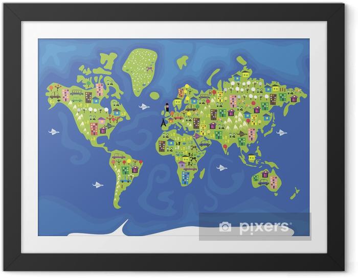 Póster Enmarcado Dibujos animados mapa del mundo - Espacio exterior