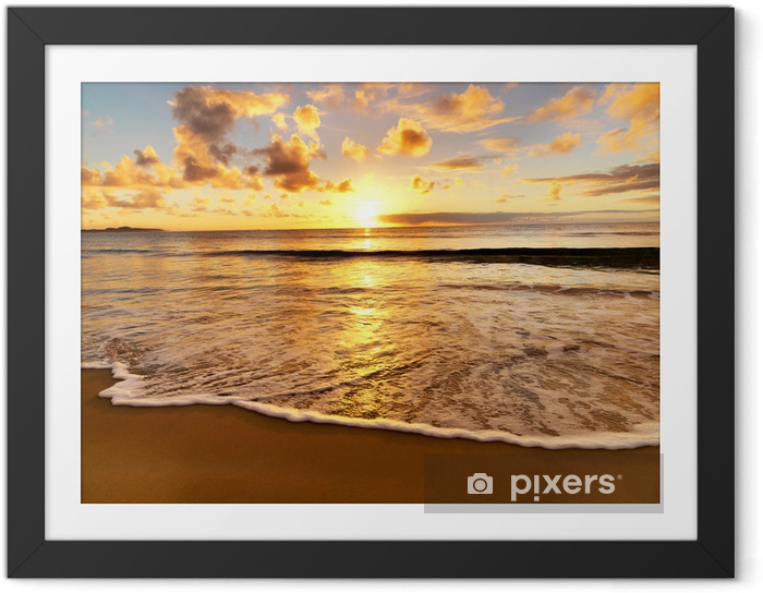 Plakat w ramie Piękny zachód słońca na plaży - Tematy