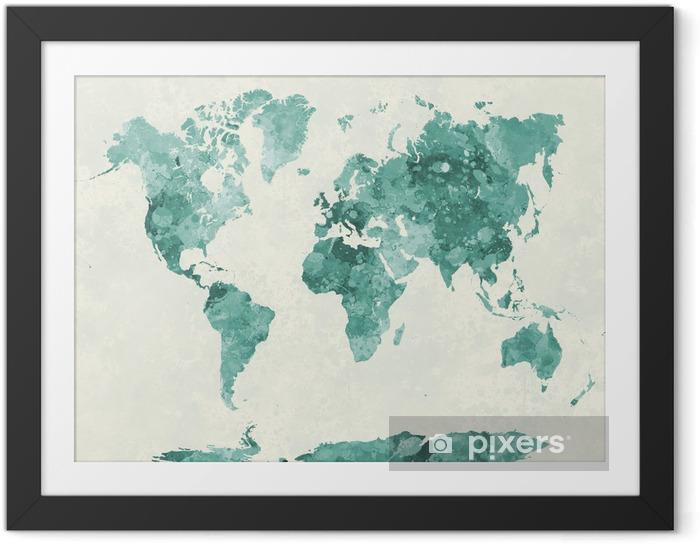 Ingelijste Poster Wereldkaart in aquarel groen - Stijlen